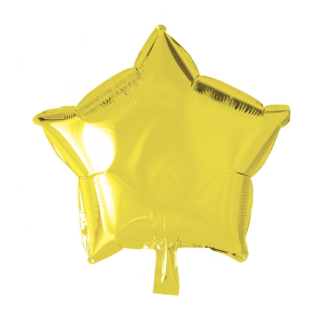 Foilballoon star, 18'' - yellow, singlepacked