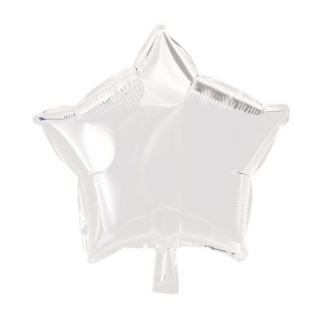 Foilballoon star, 18'' - white, singlepacked