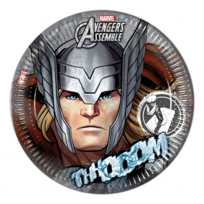 8 Paper Plates Large  23cm Thor - Avengers Teen