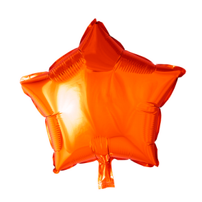 Foilballoon star, 18'' - orange, singlepacked