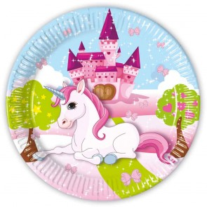 8 Paper Plates Large  23cm - Unicorn