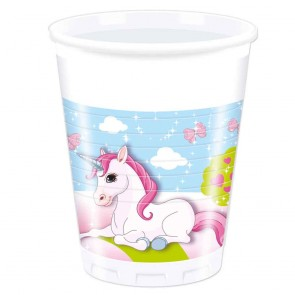8 Plastic Cups 200 ml - Unicorn