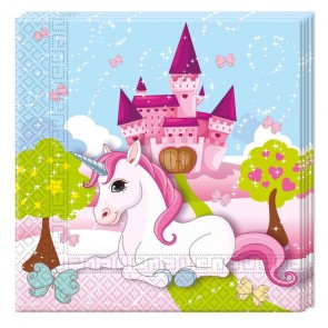 20 Two-ply Paper Napkins 33x33cm - Unicorn