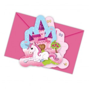 6 Die-cut Invitations & Envelopes - Unicorn
