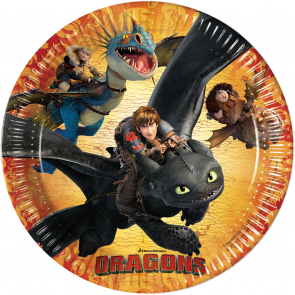 8 Paper Plates Large 23cm  -  Dragons