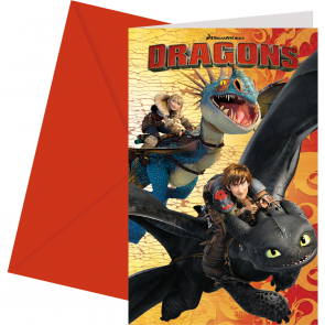 6 Invitations & Envelopes  -  Dragons