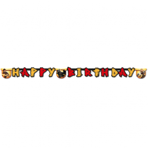 "1 ""Happy Birthday"" Die-Cut Banner  -  Dragons"