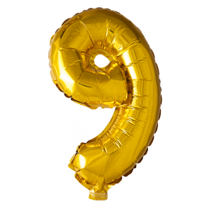 Foilballoon No. 9 , 16'' - gold