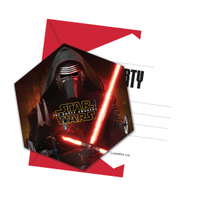 6 Die-cut Invitations & Envelopes - Star Wars The Force Awakens