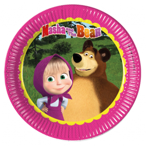 8 Paper Plates Large  23cm - Masha and The Bear
