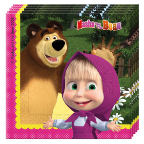 20 Two-ply Paper Napkins 33x33cm - Masha and The Bear