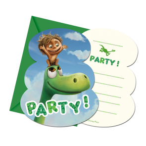 6 Die-cut Invitations & Envelopes - The Good Dinosaur