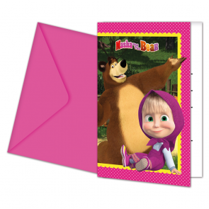 6 Invitations & Envelopes - Masha and The Bear