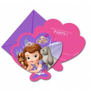 6 Die-cut Invitations & Envelopes - Sofia The First