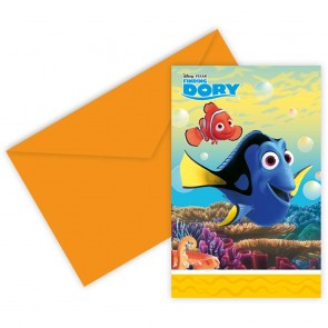 6 Die-Cut Invitations and Envelopes - Finding Dory