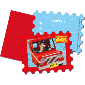 6 Die-Cut Invitations & Envelopes - Postman Pat