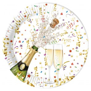 8 Paper Plates Large 23cm metallic - Sparkling Celebration