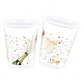 8 Plastic Cups 200 ml - Sparkling Celebration