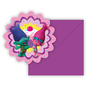 6 Die-Cut Invitations & Envelopes - Trolls
