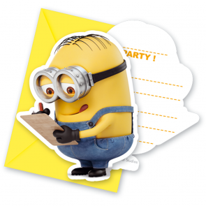 6 Die-Cut Invitations & Envelopes - Minions