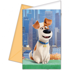 6 Invitations & Envelopes - Secret Life of Pets