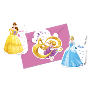 6 Die-cut Invitations & Envelopes (3 mixed designs)  -  Princess Heartstrong