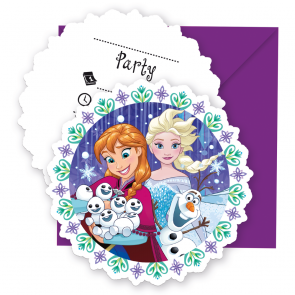 6 Die-cut Invitations & Envelopes  -  Frozen Snowflakes