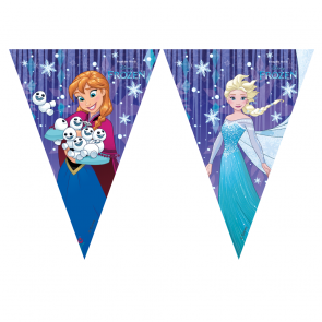 1 Triangle Flag Banner (9 flags)  -  Frozen Snowflakes