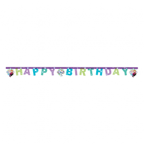 "1 ""Happy Birthday"" Die-cut Banner  -  Frozen Snowflakes"