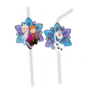 6 Medallion Flexi Drinking Straws  -  Frozen Snowflakes