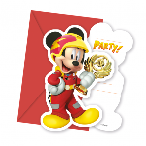6 Die-cut Invitations & Envelopes  -  Mickey Roadster