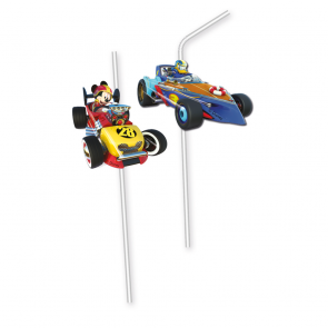 6 Medallion Flexi Drinking Straws  -  Mickey Roadster