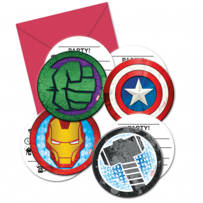 6 Die-cut Invitations & Envelopes  -  Mighty Avengers