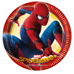 8 Paper Plates Large 23cm  -   Spiderman homecoming