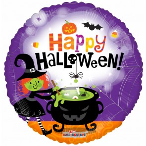 "Foilballoon round  ,  18""  -  halloween witch"