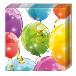 20 Two-Ply Paper Napkins 33x33cm - Sparkling Balloons
