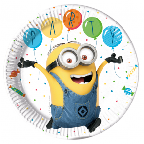 8 Paper Plates 23cm  -  Minions 3 - Balloons