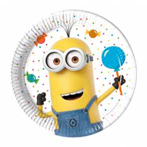 8 Paper Plates 20cm  -  Minions 3 - Balloons