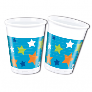 8 Plastic Cups 200 ml  -  Happy Birthday Boy