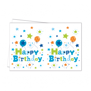 1 Plastic Tablecover 120x180cm  -  Happy Birthday Boy
