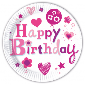 8 Paper Plates Large  23cm  -  Happy Birthday Girl