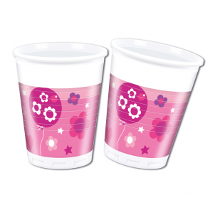 8 Plastic Cups 200 ml  -  Happy Birthday Girl