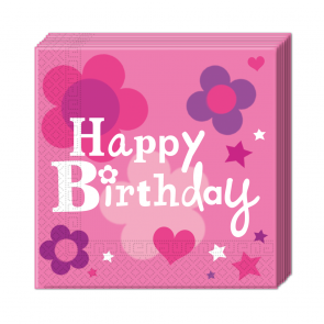20 Two-ply Paper Napkins 33x33cm  -  Happy Birthday Girl