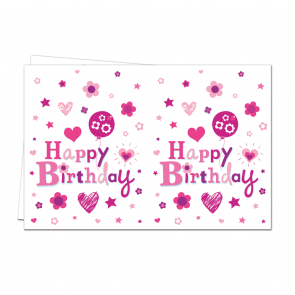 1 Plastic Tablecover 120x180cm  -  Happy Birthday Girl