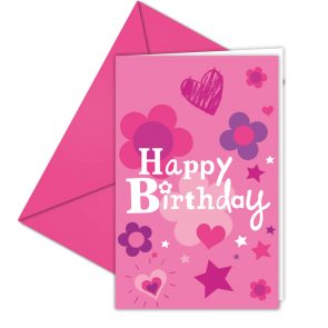 6 Invitations & Envelopes  -  Happy Birthday Girl