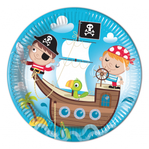 8 Paper Plates  Large 23cm  -  Pirates Treasure Hunt