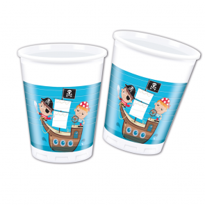 8 Plastic Cups 200 ml  -  Pirates Treasure Hunt