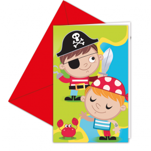 6 Invitations & Envelopes  -  Pirates Treasure Hunt