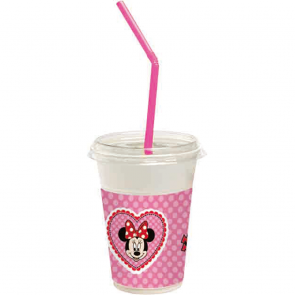 12 Milkshake Cups packets of 12 cups & 12 drinking straws & 12 lids  -  Minnie Happy Helpers