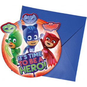 6 Invitations & Envelopes - PJ Masks